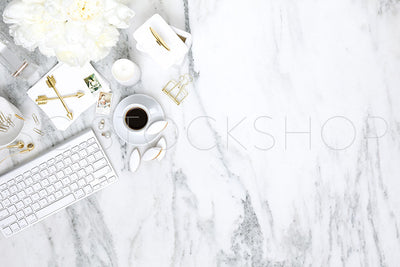 White on Marble Desk Collection #04