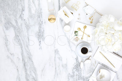 White on Marble Desk Collection #05
