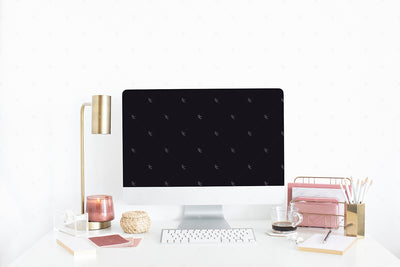 Dusty Rose editorial styled stock photography with a feminine styled desktop