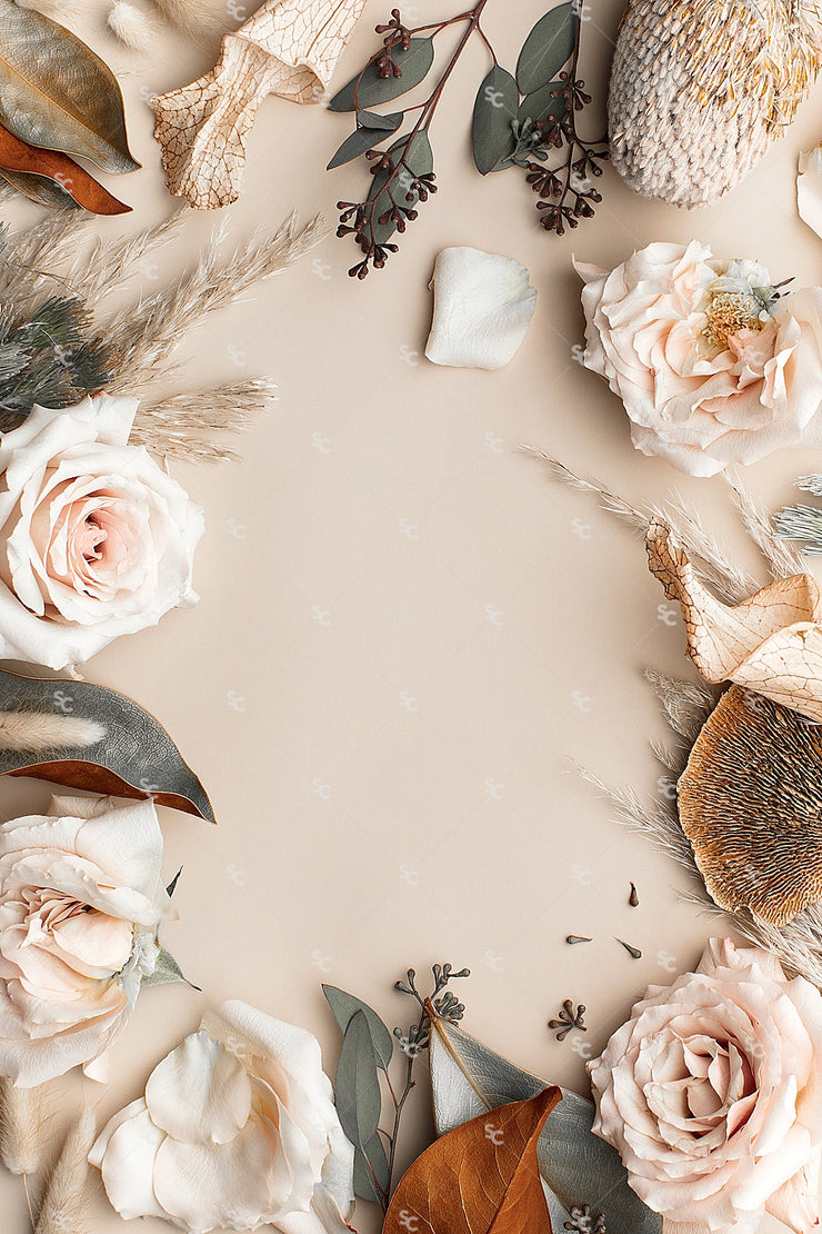 This image contains a soft mix of neutral florals on a light tan background.