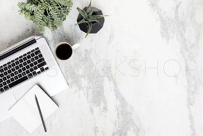 Black & White Marble Desk Collection #06
