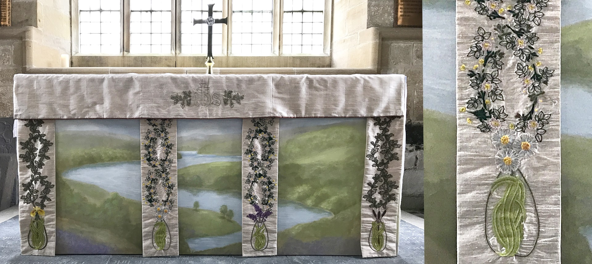 Fine Cell Work Ecclesiastical Design Church Altar Cloth Handmade Hand Embroidered Charity Kirkhale Daisy Floral Detail
