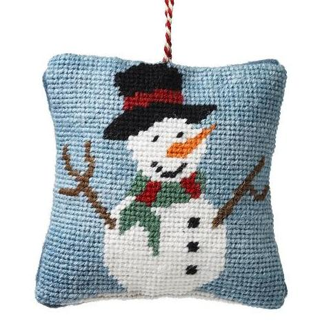 Handmade Horace the Snowman Needlepoint Decoration