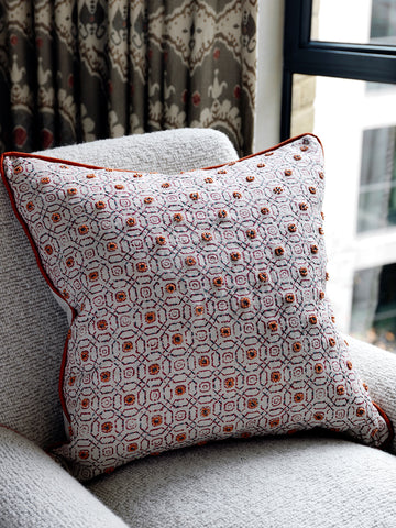 Hand-Embroidered Blithfield Stratford Chilli Cushion Orange Fine Cell Work