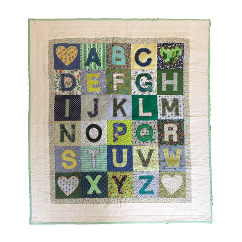 Premium Quilt - Alphabet in Blue & Greens