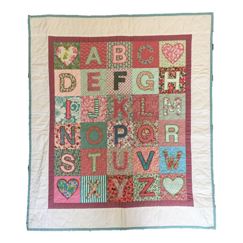Premium Quilt - Alphabet in Brick Red