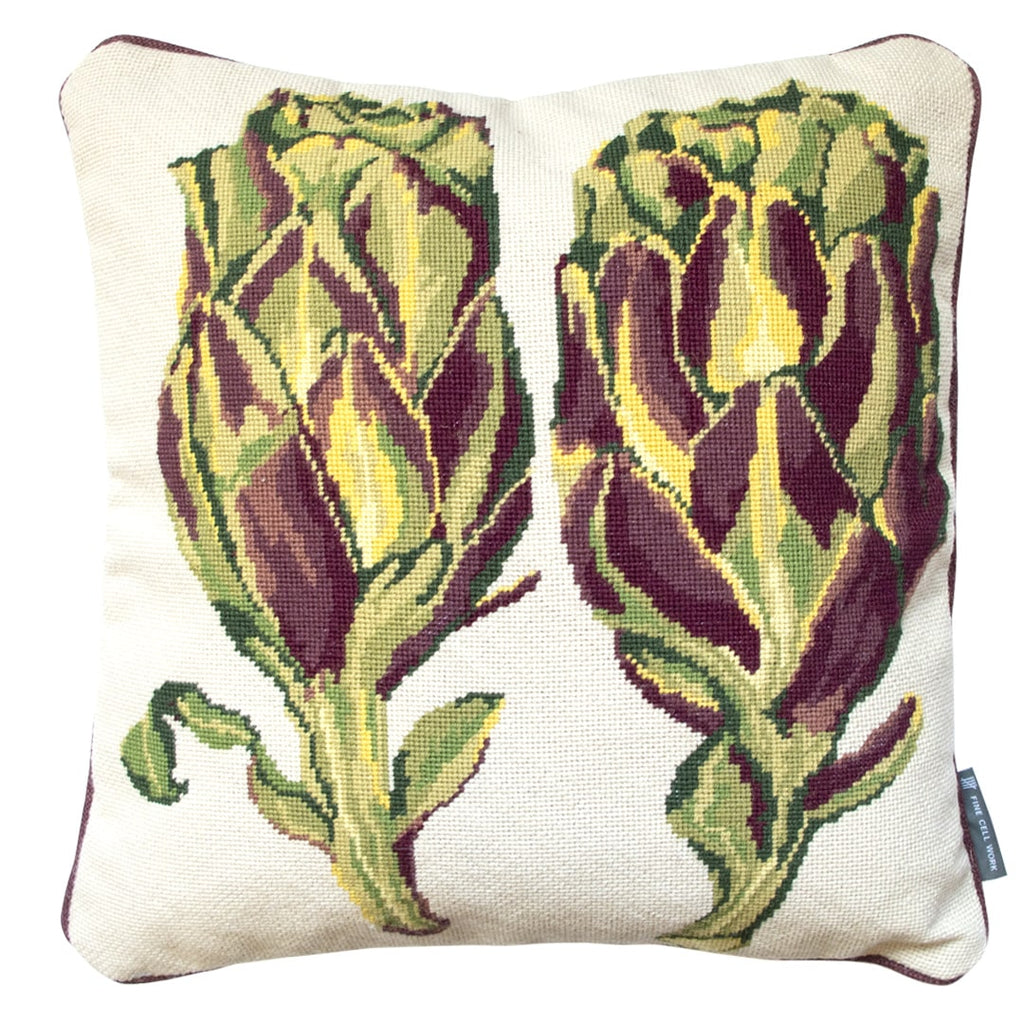 Artichoke Needlepoint Cushion Hand Stitched Green Fine Cell Work