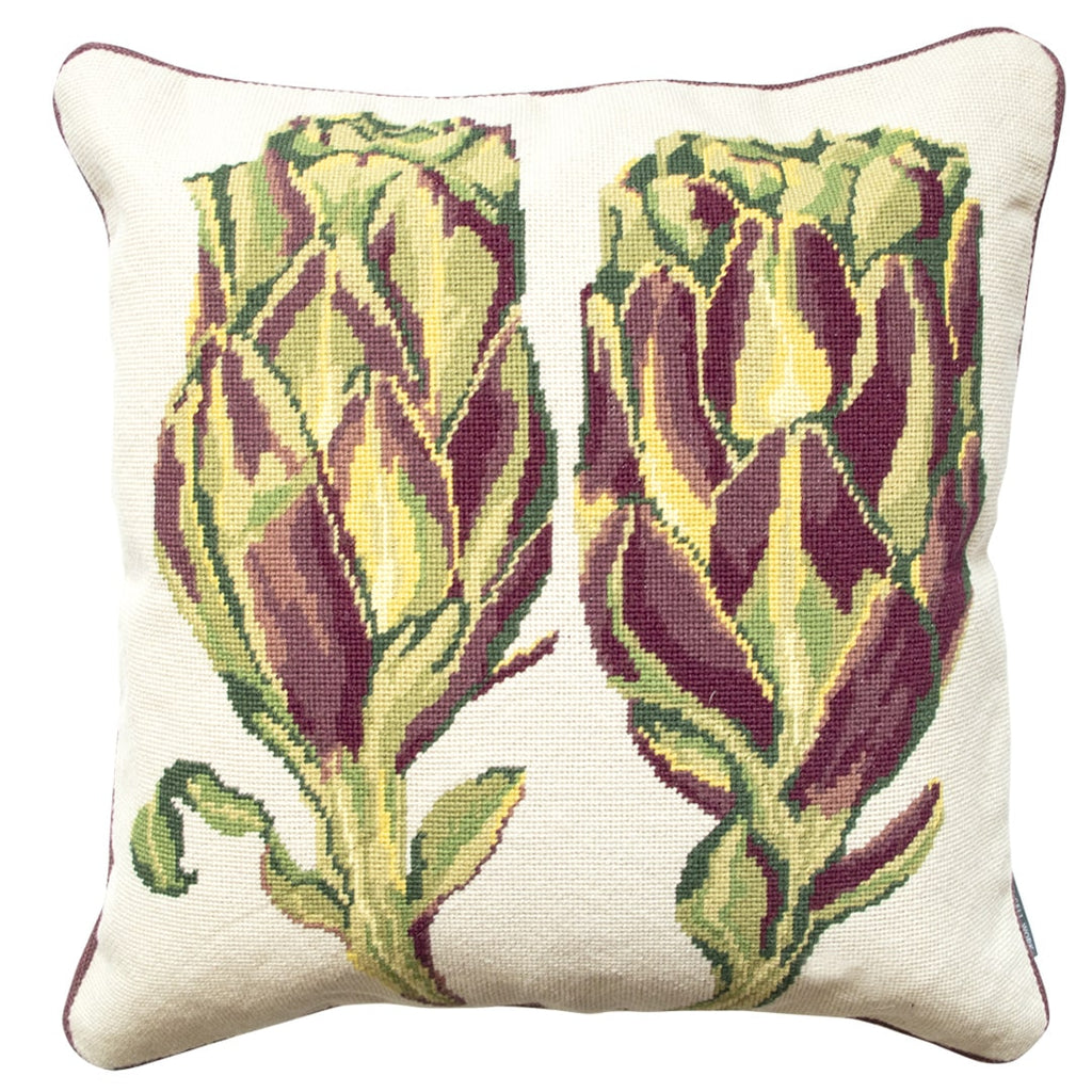 Artichoke Needlepoint Cushion Rectangle Hand Stitched Green Fine Cell Work