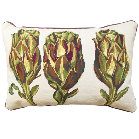 Artichoke Trio Needlepoint Cushion Hand Stitched Green Fine Cell Work