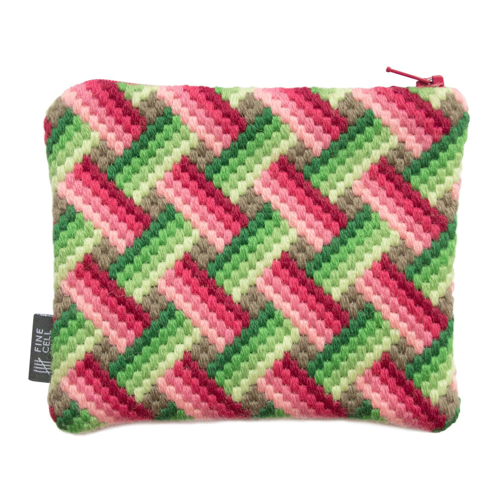 Bargello Handmade Needlepoint Purse Pink Green Fine Cell Work
