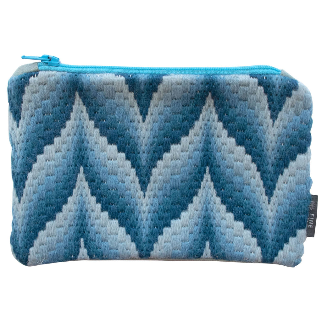Bargello iPad Mini Make-up Case Blue Hand Stitched Needlepoint Fine Cell Work