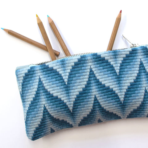 Bargello Pencil Case Blue Handmade Needlepoint Stationery Fine Cell Work