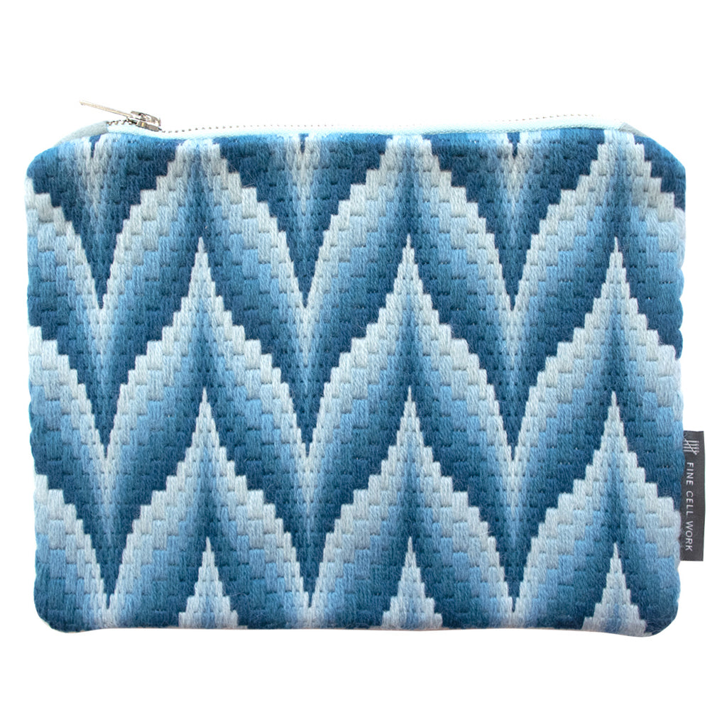 Bargello Case Blue Hand Stitched Needlepoint Silver Zip Fine Cell Work