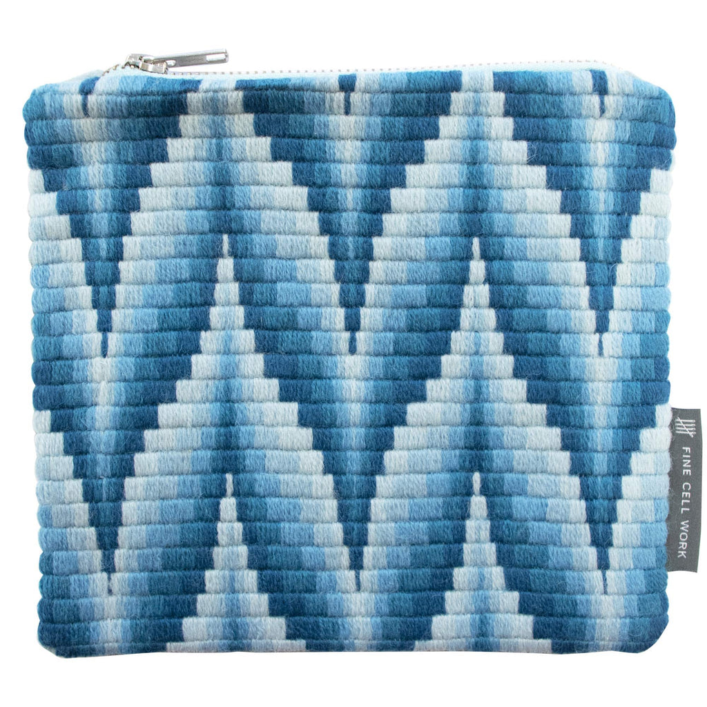 Bargello iPad Mini Case Make-up Bag Blue Hand Stitched Needlepoint Fine Cell Work