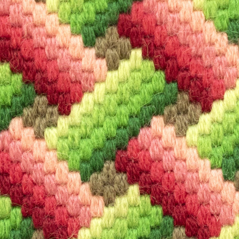 Bargello Pink and Green Hand Stitched Needlepoint Detail Fine Cell Work