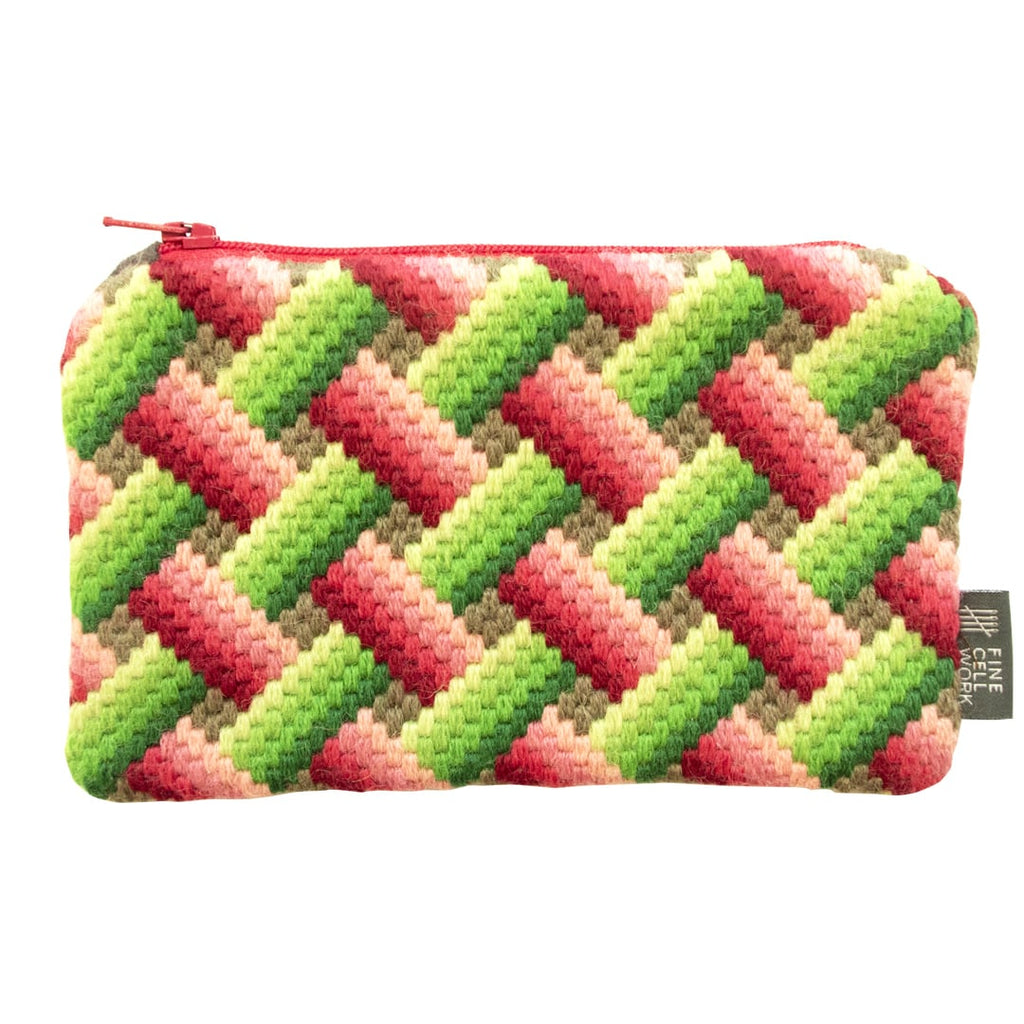 Bargello Medium Purse Pink and Green Fine Cell Work