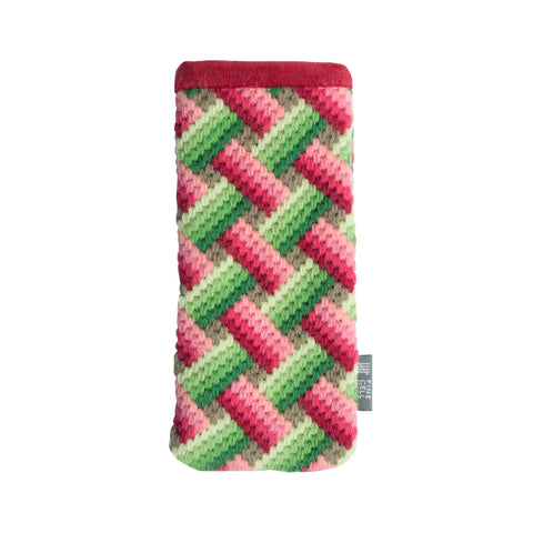 Bargello Handmade Needlepoint Glasses Case Pink Green Fine Cell Work