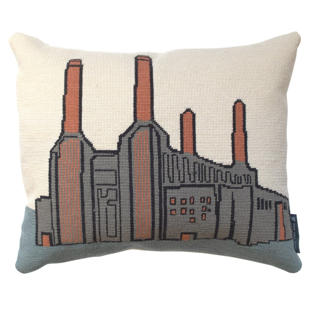 Battersea Power Station Cushion London Landmarks Hand Stitched Needlepoint Fine Cell Work
