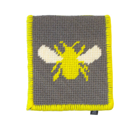Needle Case Bee Insect Motif Hand Stitched Grey Yellow Fine Cell Work