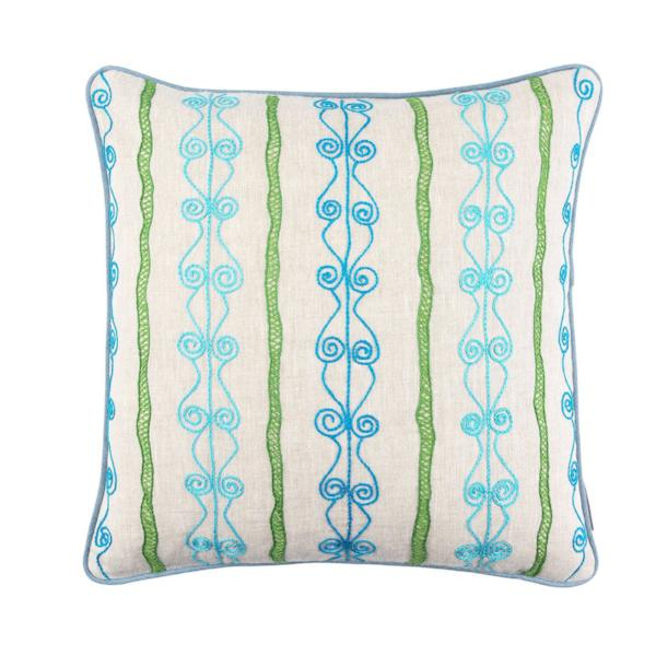 Melissa Wyndham Robert Stephenson Kit Kemp for Fine Cell Work Brunel Embroidered Cushion Blue and Green