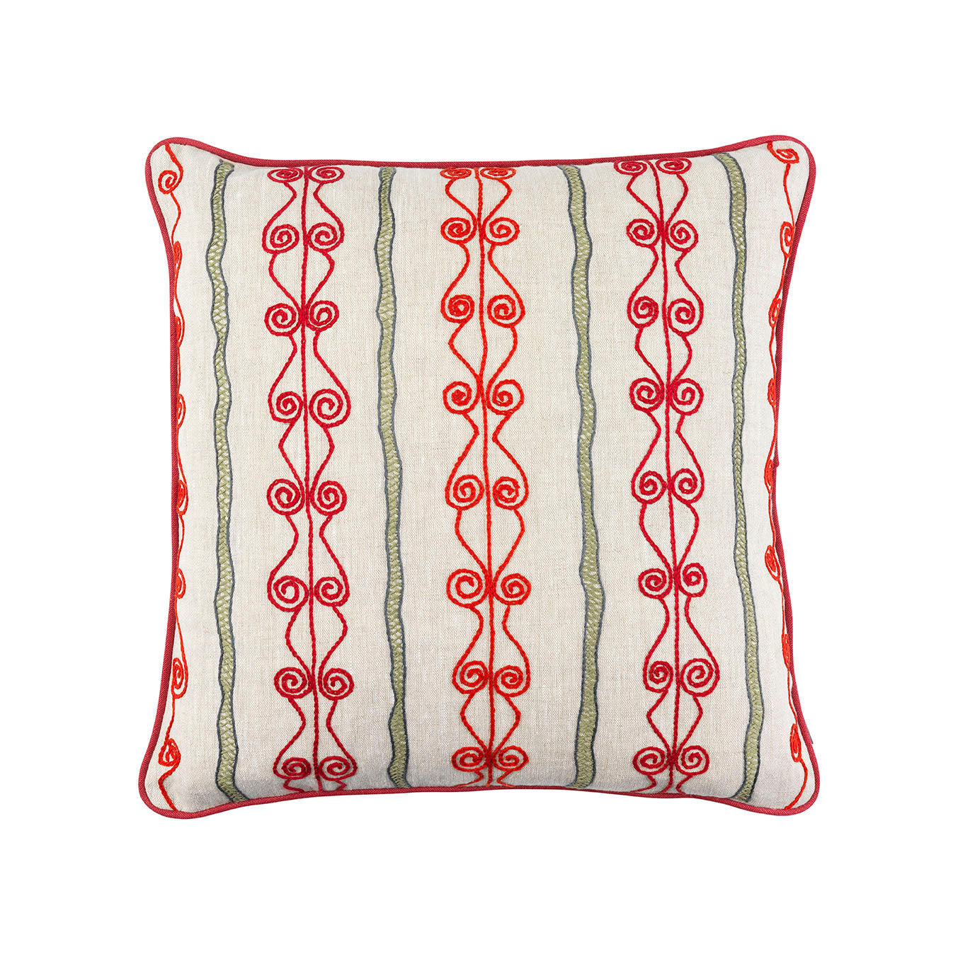 Melissa Wyndham Robert Stephenson Kit Kemp for Fine Cell Work Brunel Embroidered Cushion Red and Green