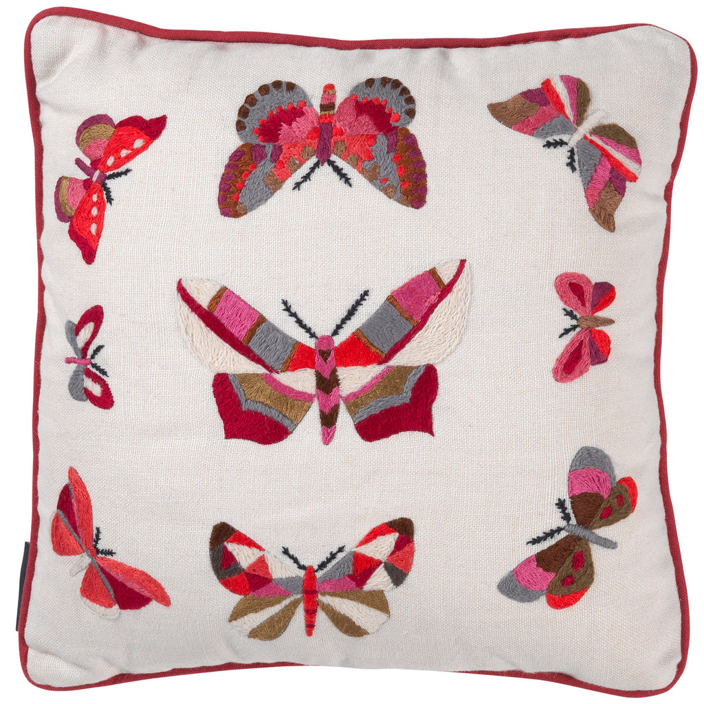 Butterflies Hand Embroidered Red Cream Cushion Fine Cell Work