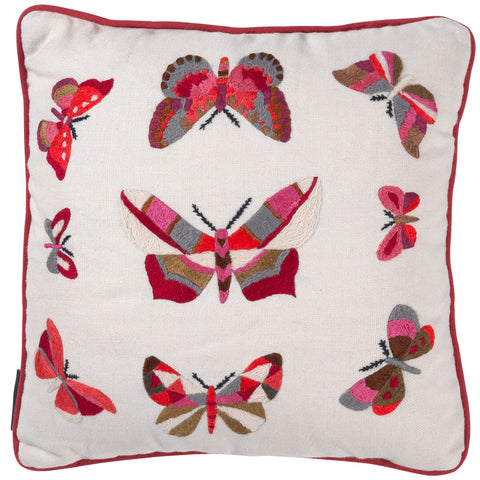 Small Butterflies - Red/Pink on Cream*