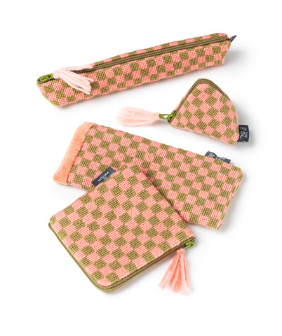Sissinghurst Needlepoint Chequerboard Range Pink and Green Cath Kidston for Fine Cell Work