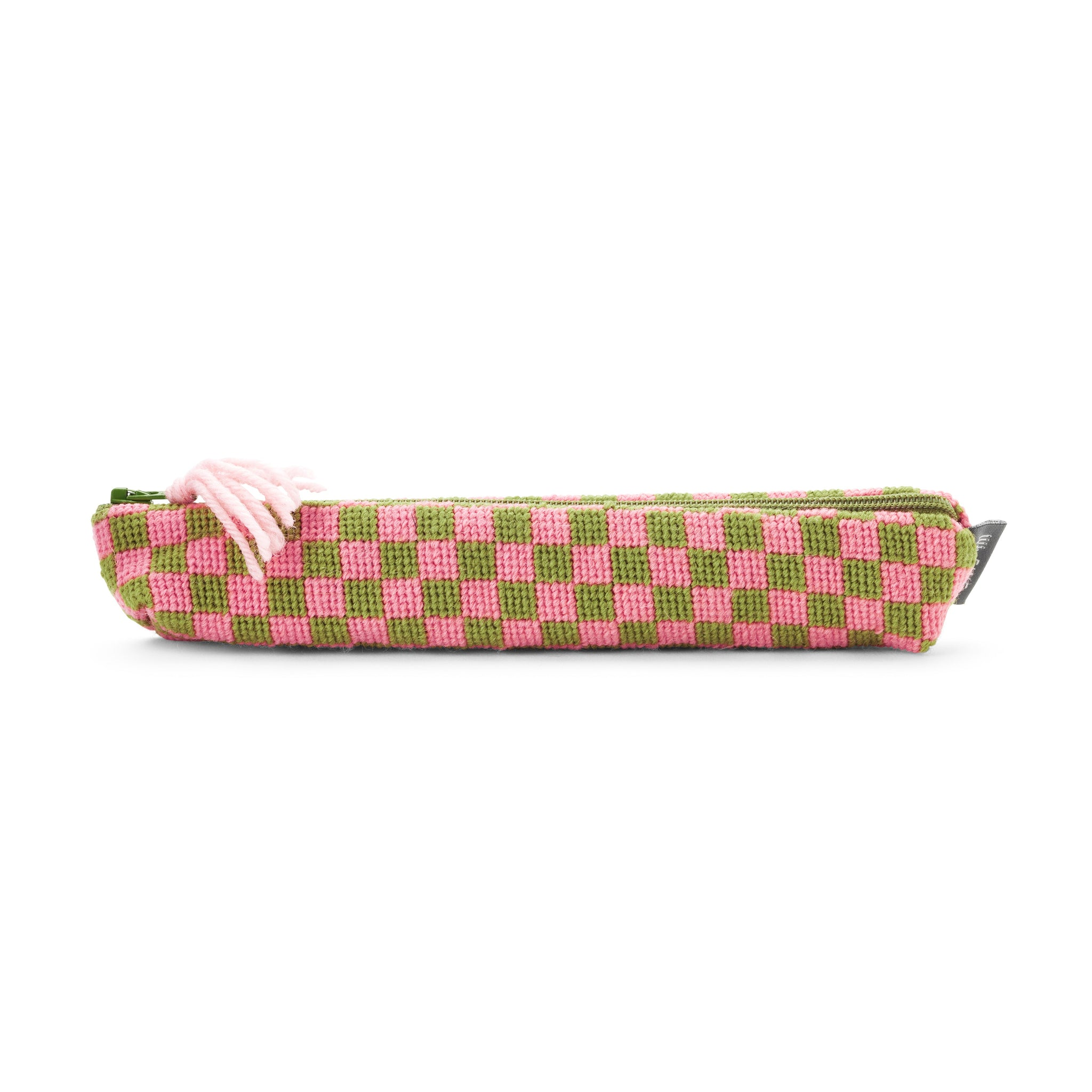 Sissinghurst Chequerboard Needlepoint Pencil Case Pink and Green Cath Kidston for Fine Cell Work