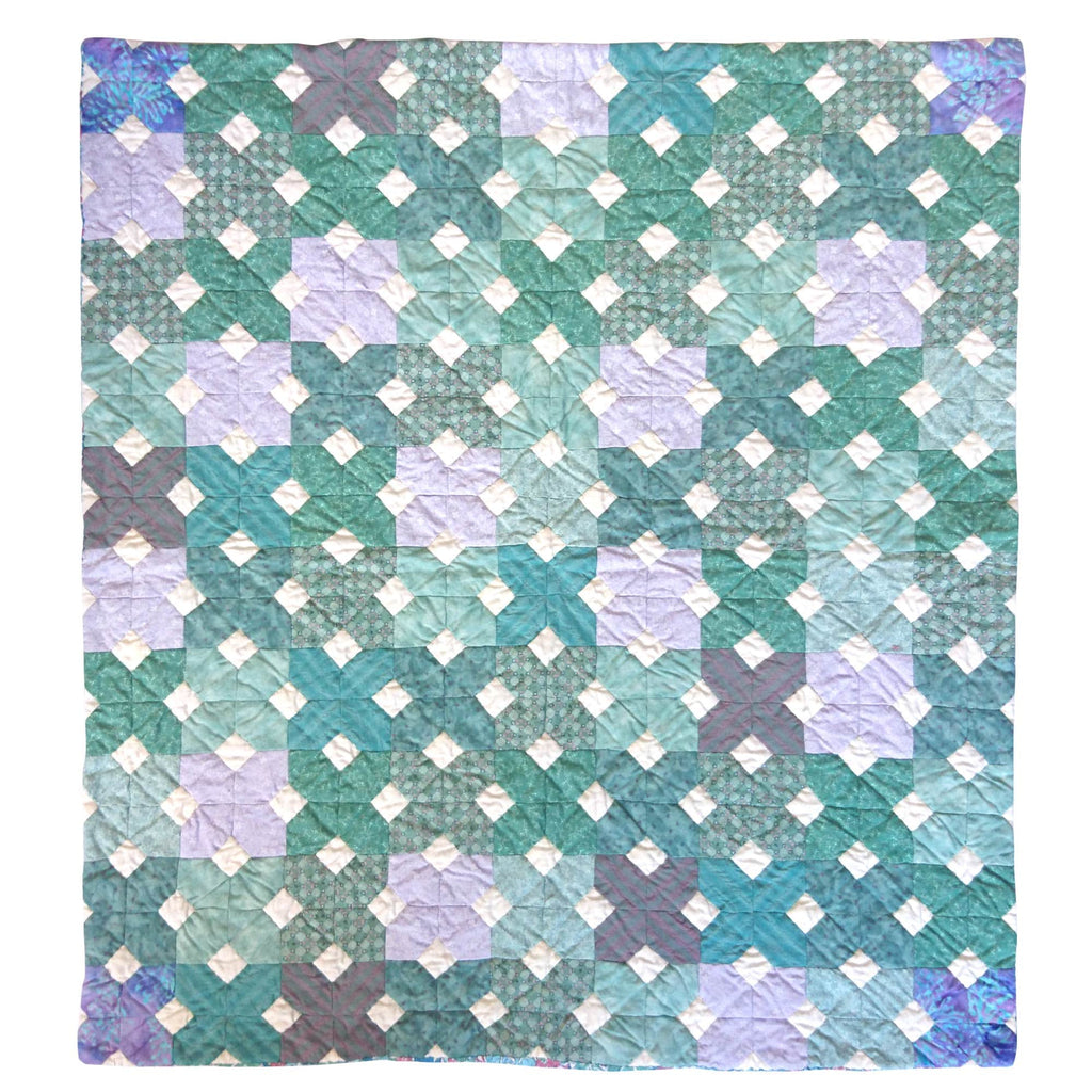 Childrens Handmade Quilt Playmat Jade Green Fine Cell Work