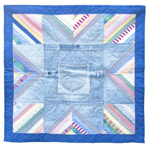 Children's Handmade Quilt Blue Denim Patchwork Fine Cell Work