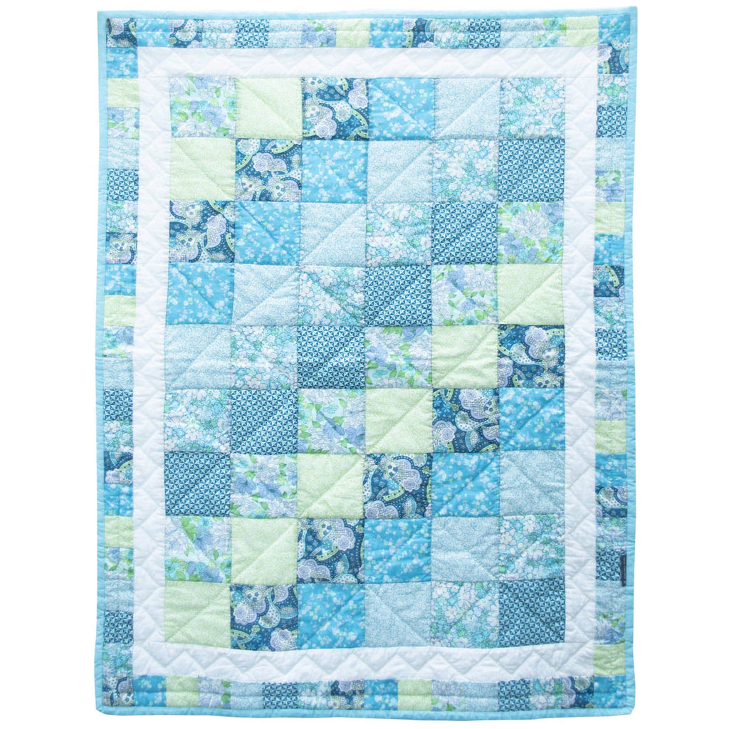 Children's Handmade Quilt Blue and Turquoise Patchwork Fine Cell Work