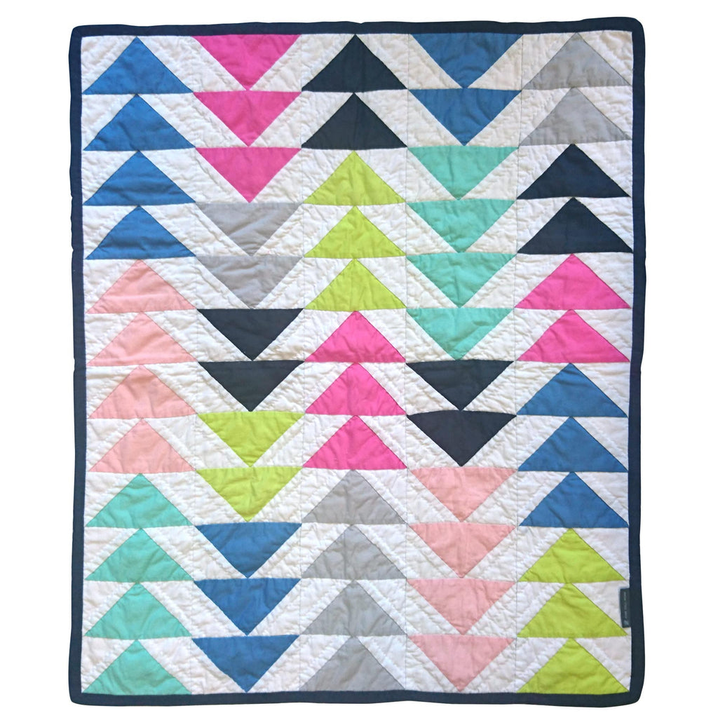 Children's Handmade Quilt Playmat Multi-Triangles Flying Geese Multicoloured Summer Fine Cell Work