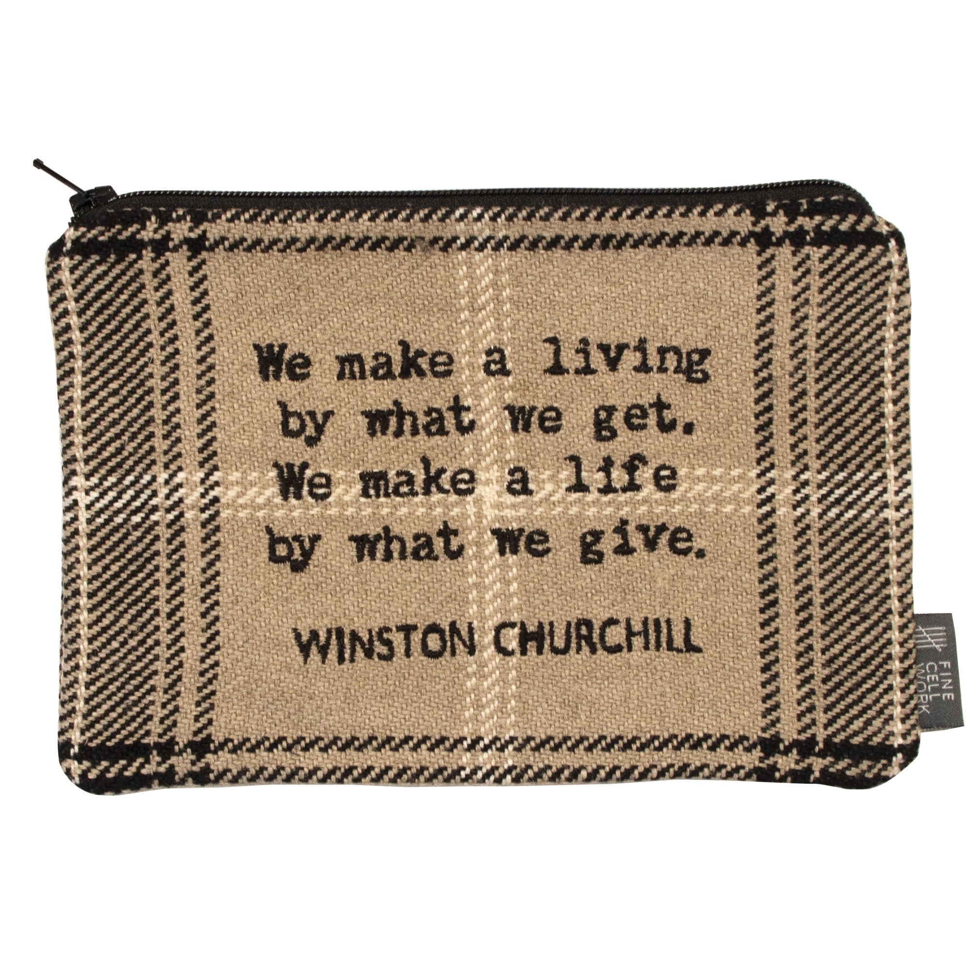Churchill Quote Zip Wallet Black