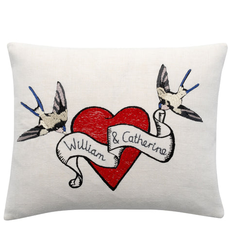 William and Catherine Embroidered Heart & Birds cushion