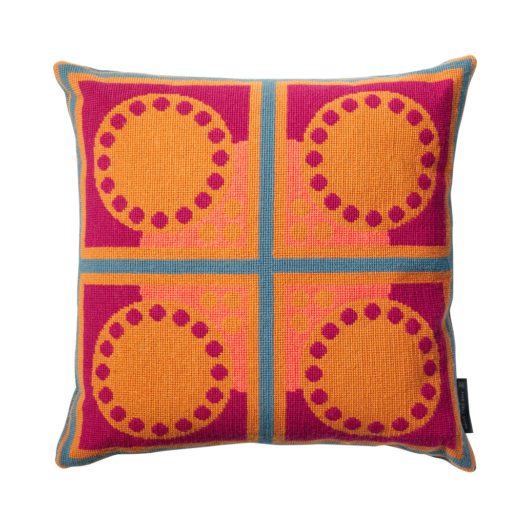 Cressida Bell Granadilla Needlepoint Cushion Orange and Pink featured George Clarke's Old House New Home