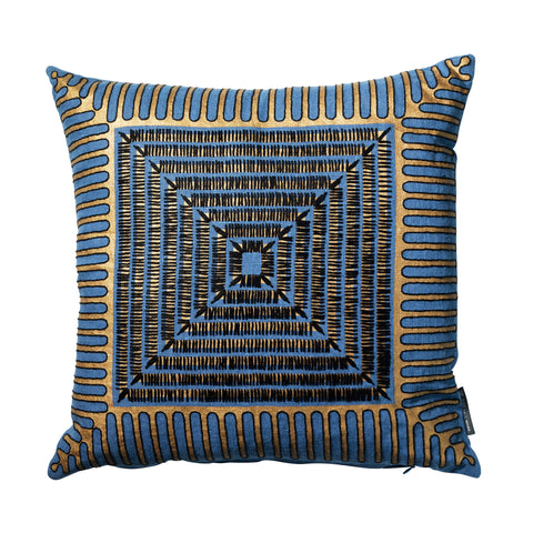 Cressida Bell Pyramid Embroidered Linen Cushion Blue