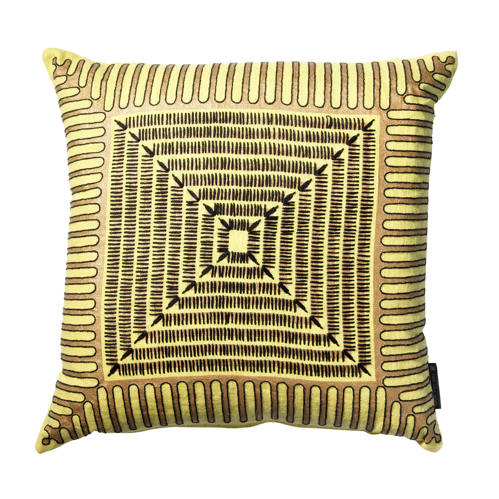 Cressida Bell Pyramid Embroidered Cushion Yellow