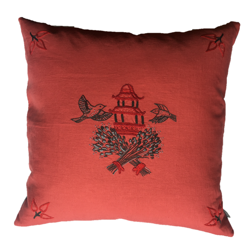 Wheatsheaf Embroidered Cushion Red and Beige