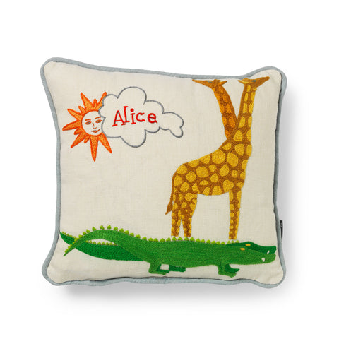 handstitched customised and personalised childrens crocodile cushion with name embroidered on