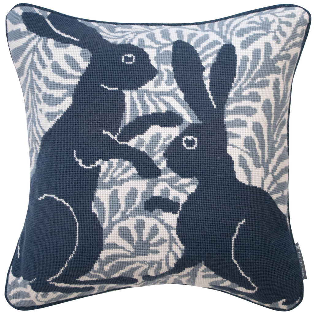 De Morgan Hares Needlepoint Handmade Cushion Blue Grey Fine Cell Work