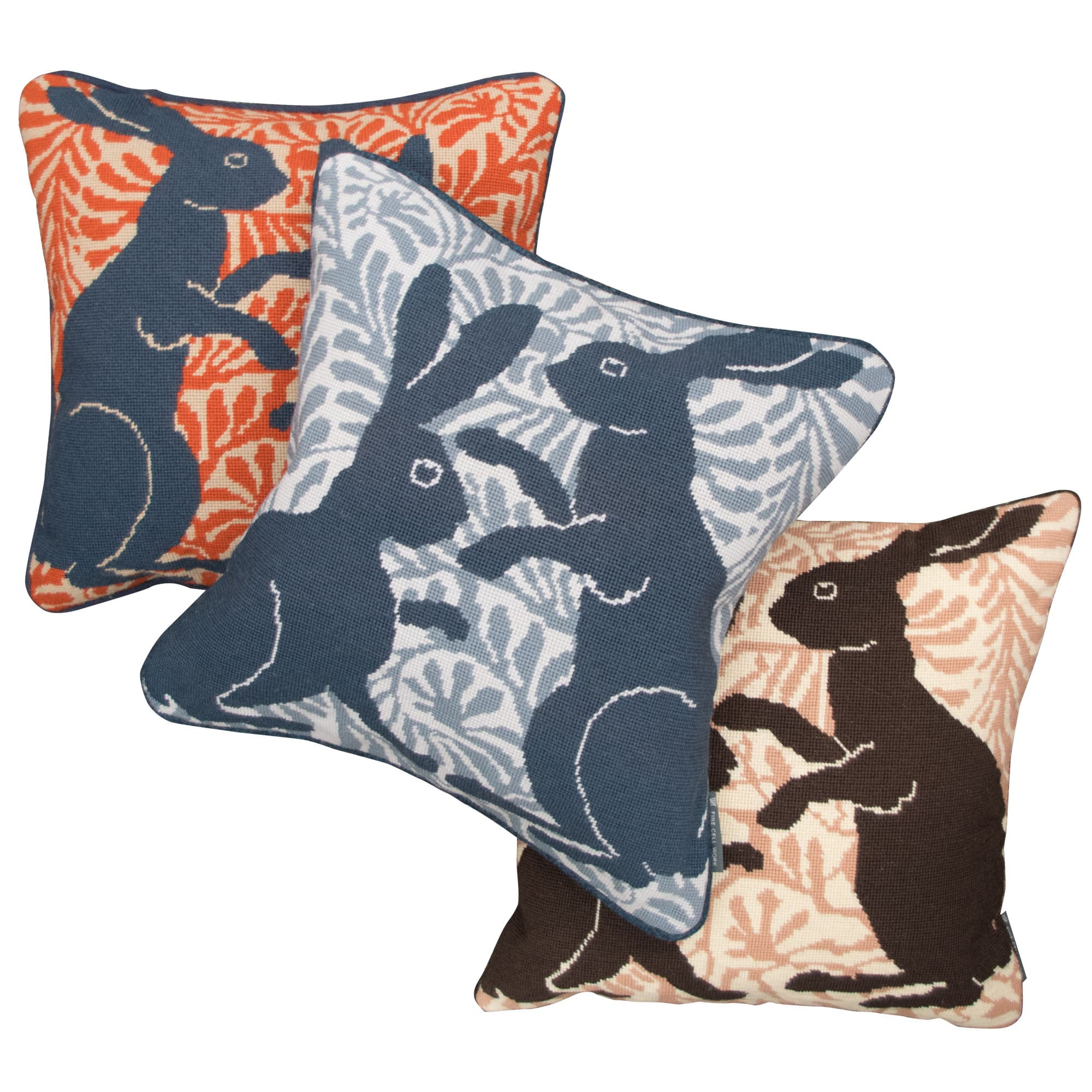 De Morgan Hares Needlepoint Cushion Orange (Right Facing)