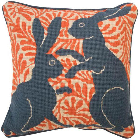 De Morgan Hares Needlepoint Cushion Orange (Left Facing)