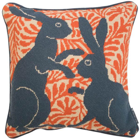 De Morgan Hares Needlepoint Handmade Cushion Orange Fine Cell Work