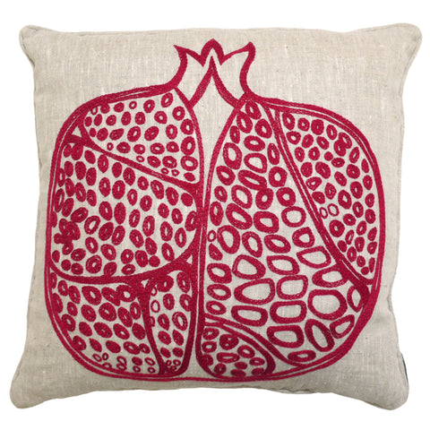 Pomegranate Embroidered Linen Cushion Red and Cream