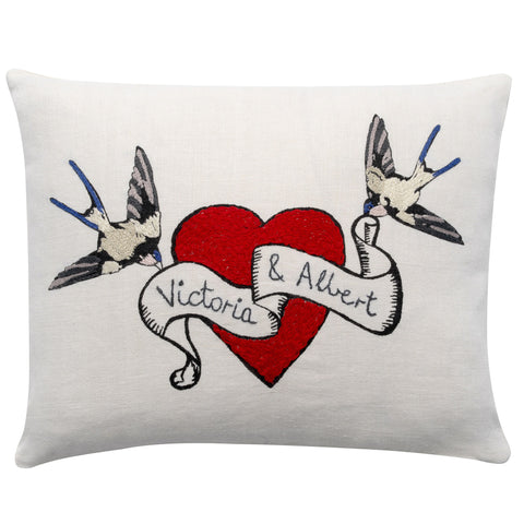 Heart & Birds (customised) cushion