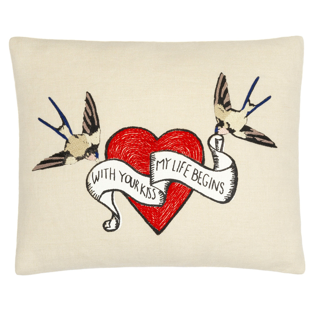 Heart & Birds cushion