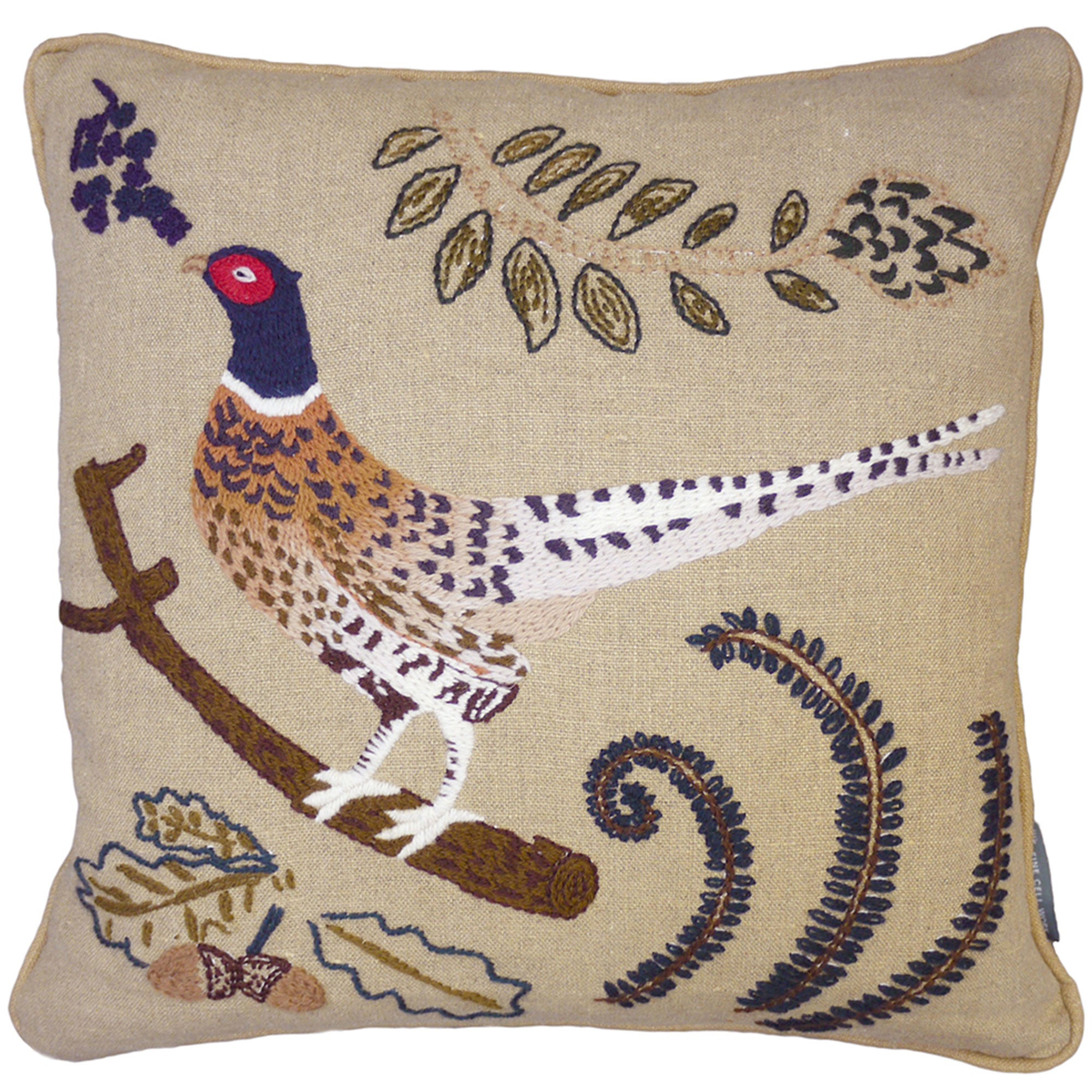 Embroidered Pheasant Cushion Made To Order
