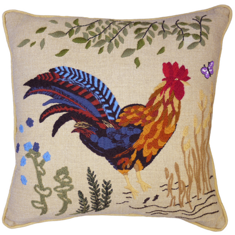 Cockerel Hand-Embroidered Cushion