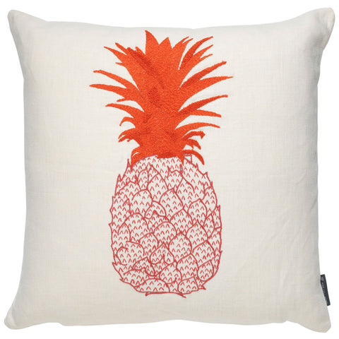 Pineapple Embroidered Cushion Pink and Orange on Cream
